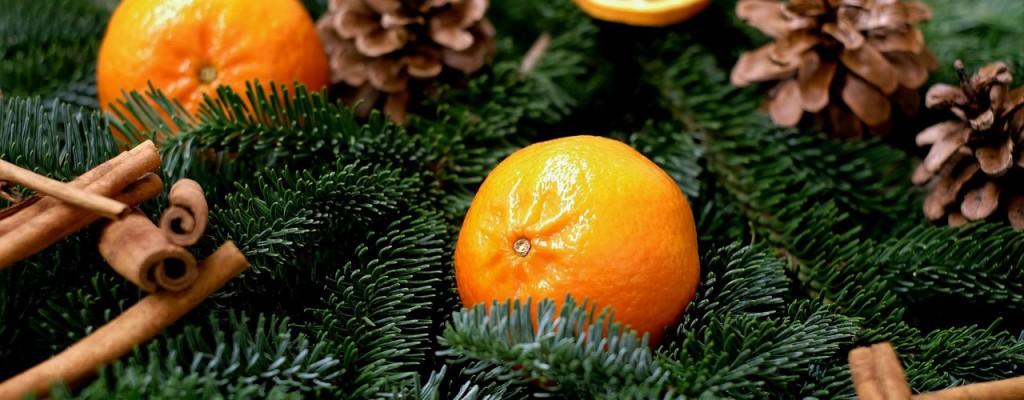 albero natale decori naturali arance