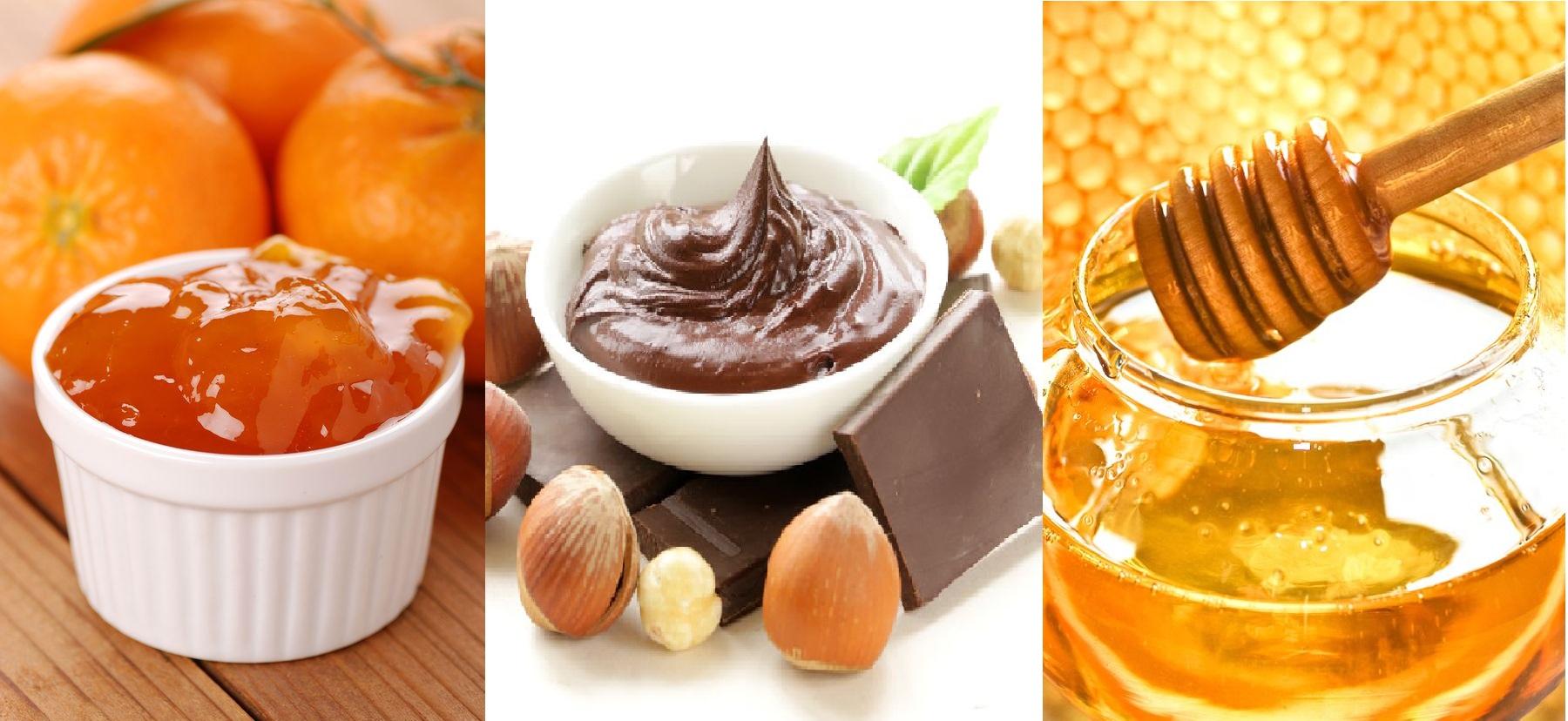Marmellate di frutta, miele, crema cioccolato